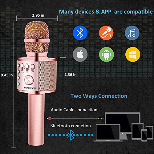 BONAOK Wireless Karaoke Microphone Rose Gold Plus, Easter Gift 3-in-1 Portable Built in Bluetooth Speaker Machine for Android/iPhone/iPad/Sony/PC or All Smartphone - Image 1
