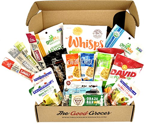 Keto Snacks Care Package  20Ct   Ultra Low Carb  Ketogenic  Gluten Free  Low Sugar  Protein Bars  Crispy Cheese Bars  Crisps  Grass Fed Meat Sticks Bars  Nuts  Healthy Keto Gift Box Variety Pack