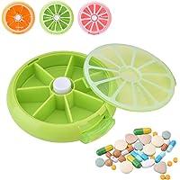 Yosoo Portátil giratorio pastillero 7días Medicina Vitaminas recipiente dispensador de almacenamiento, estilo de diseño de la fruta(Green)