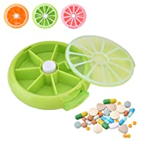 Yosoo Portátil giratorio pastillero 7días Medicina Vitaminas recipiente dispensador de almacenamiento, estilo de diseño de la fruta
