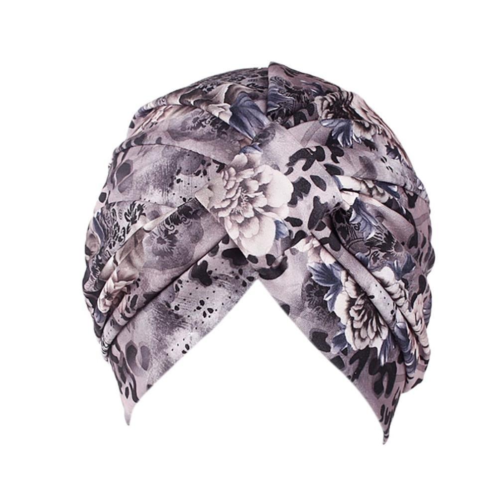 Ximandi Stretch Cotton Scarf, Muslim Retro Floral Turban Head Scarf Wrap Cap Muslim Retro Floral Turban Head Scarf Wrap Cap (Black Medium)
