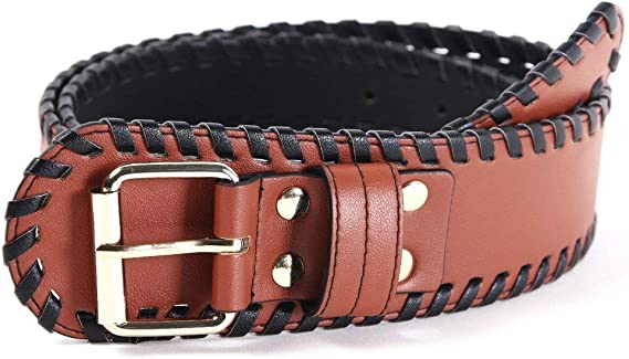 BCBG Brown Faux Leather Braided Wide Stretch Belt