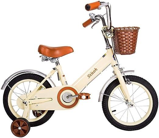 MDYMX Bicicleta para niños Bicicleta para niños de Color Amarillo Claro y Rosa, Princesas tamaño 12