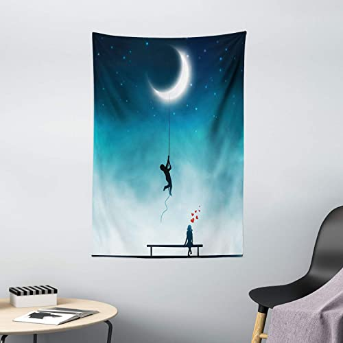 Ambesonne Fantasy Tapestry, Boy Climbing to The Moon with Rope and Girl on Bench Love Romance Fantasy Art, Wall Hanging for Bedroom Living Room Dorm Decor, 40 X 60 , Teal White