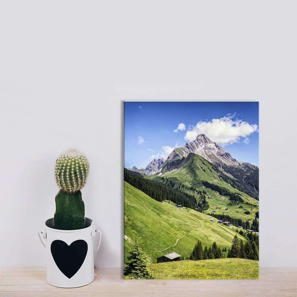Impression Artistique Revolio D/écoration Murale Design Images sur Toile Taille: 40x30 cm Palmiers Bateau Vert Tableaux pour la Mur