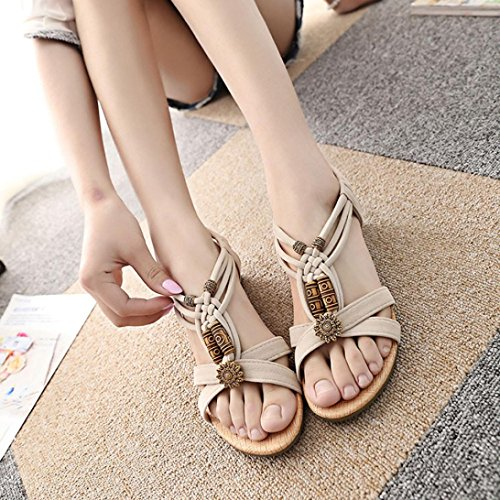 Price comparison product image Hemlock Women Flat Buckle Shoes Summer Roman Sandals (US:8.5,  Beige)