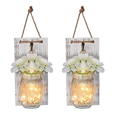 Mason Jar Wall Decor Rustic Wall Sconces with Fairy Light String, Vintage Wrought Iron Hooks ,Silk Hydrangea, Decorative Flower for Home Kitchen Dining Room set of 2