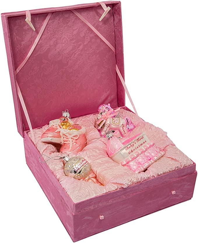 """NEW Kurt Adler 4/"""" Pink or Green Cupcake Glass Christmas Ornament D2918"""