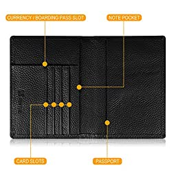 Fintie Passport Holder Travel Wallet - Premium Vegan Leather RFID Blocking Case Cover - Securely Holds Passport, Business Cards, Credit Cards, Boarding Passes, Black