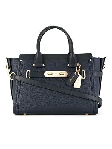 COACH Women s Pebbled Leather Coach Swagger 27 Li Navy One Size  Handbags   Amazon.com e79debecff