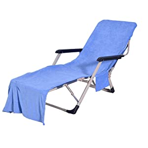 """VOCOOL Chaise Lounge Pool Chair Cover Beach Towel Fitted Elastic Pocket Won't Slide 85"""" L x 30"""" W-Blue"""
