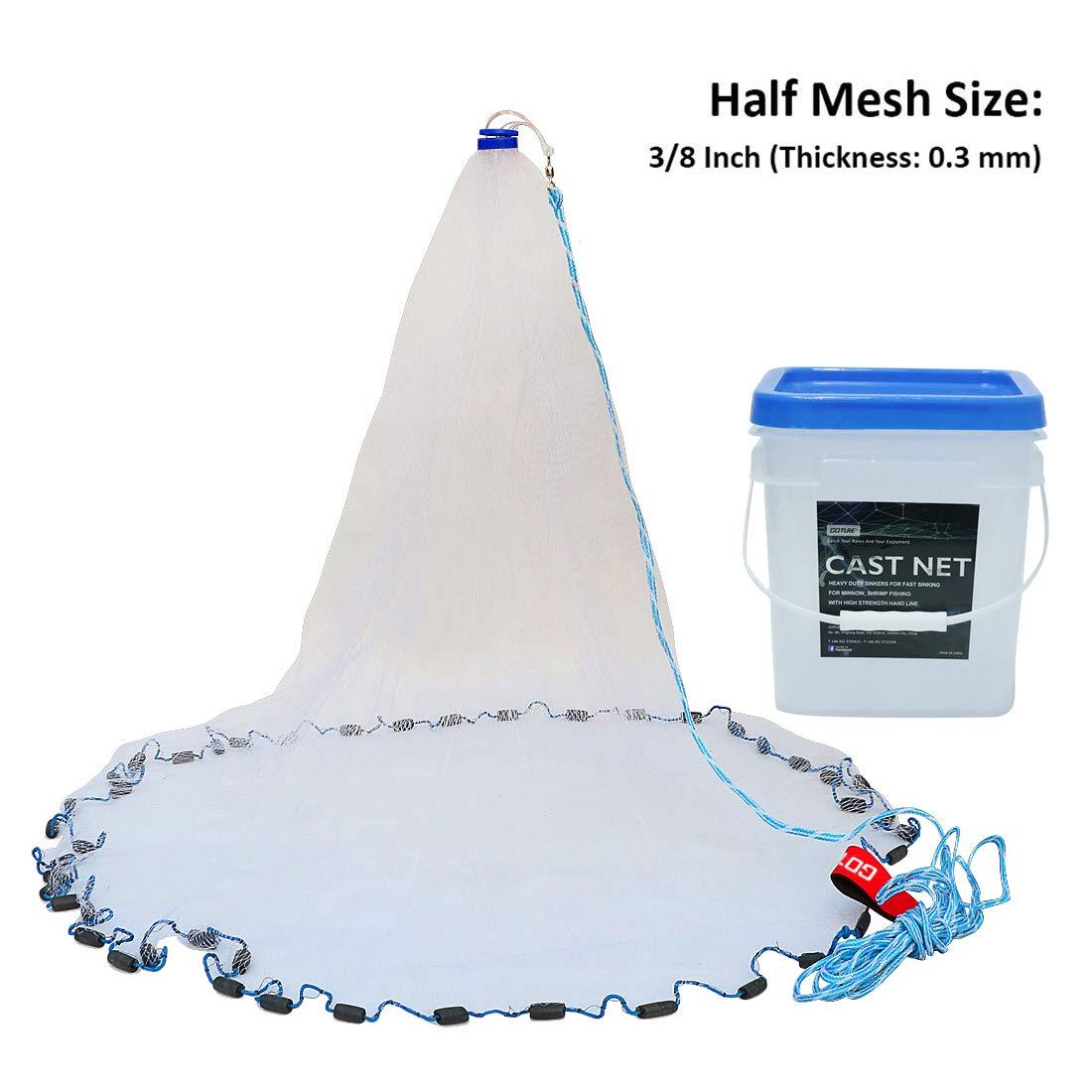 Goture American Saltwater Fishing Netを餌トラップキャスト魚4 ft / 6ft / 8ft / 10ft / 12ft半径20 cm、3 / 8インチメッシュサイズ B01ARX5XBA 4 Feet* 3/8 Inch/1.5KG 4 Feet* 3/8 Inch/1.5KG