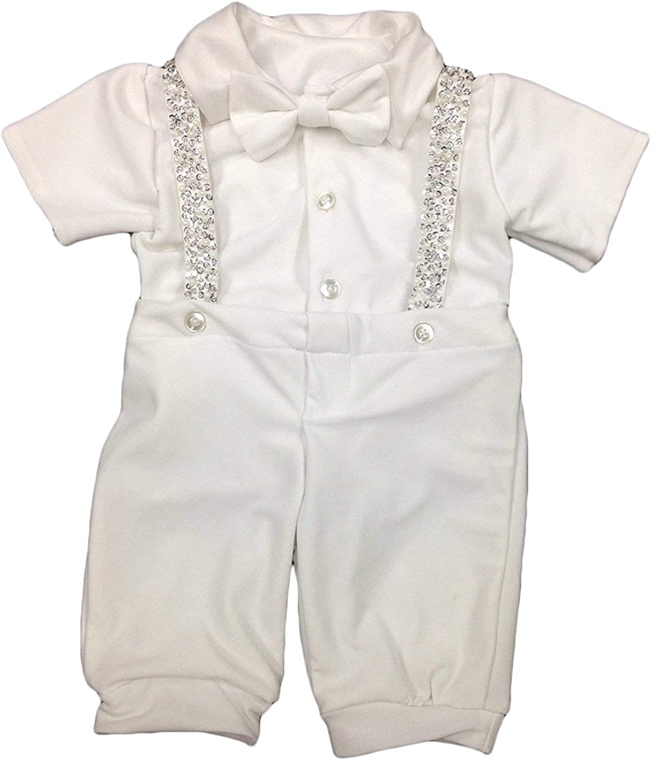 Faithclover Christening Outfit for Baby Boy Long Pants Set with Bonnet