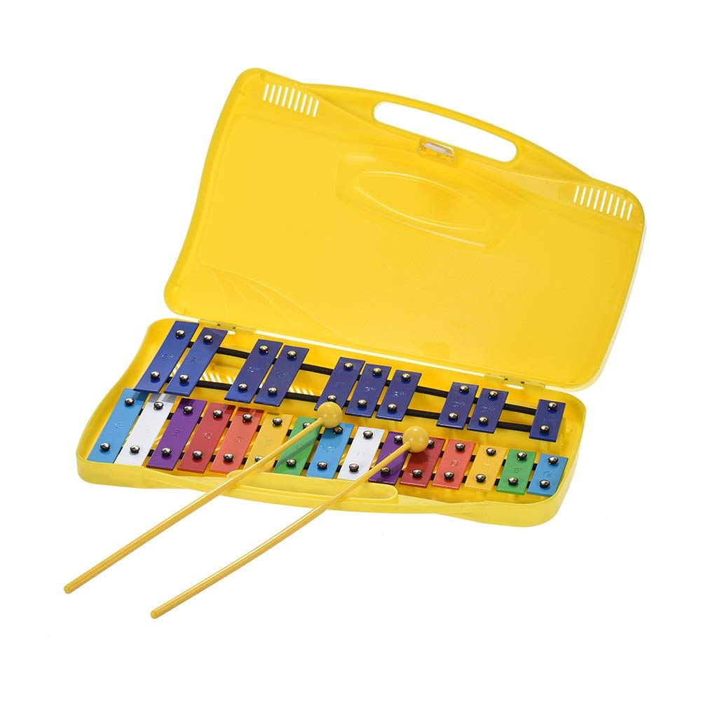 YUSDP Colorful 25 Note Glockenspiel for Kids - -Safe Plastic Mallets, with Multi-Colored Metal Bars, One-Piece Design, Attractive Percussion Instrument by YUSDP
