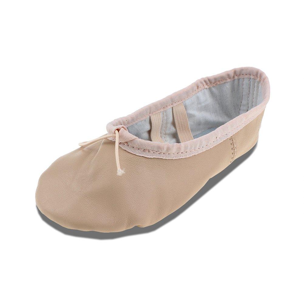 MSMAX Beige Leather Full Sole Casual Slipper Ballet Flat,Little Kid,12M US