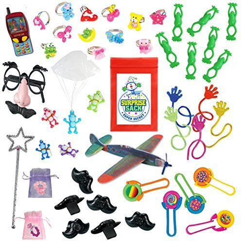 100 Plus+++ (124 Pc) Novelty Toy Assortment for Party Favor Bags, Piñata, Carnival Prizes, or School Classroom Rewards Box (Includes Sticky Hands, Flying Frogs, Disc Shooters, Mustache Lip Whistles, & Other Small to Medium Fun Toys).