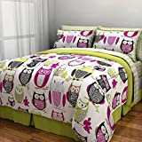 6pc Girl Green Pink Owl Zebra Bird Twin Comforter Set (Bed in a Bag)
