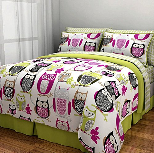 6pc Girl Green Pink Owl Zebra Bird Twin Comforter Set (Bed in a (Twin Bed In A Bag Zebra)