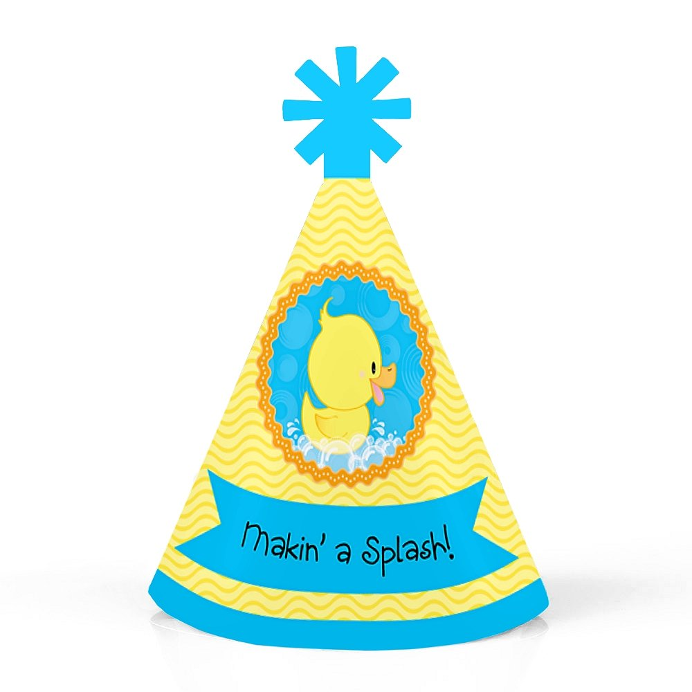 Set of 10 Small Little Party Hats Ducky Duck Mini Cone Baby Shower or Birthday Party Hats
