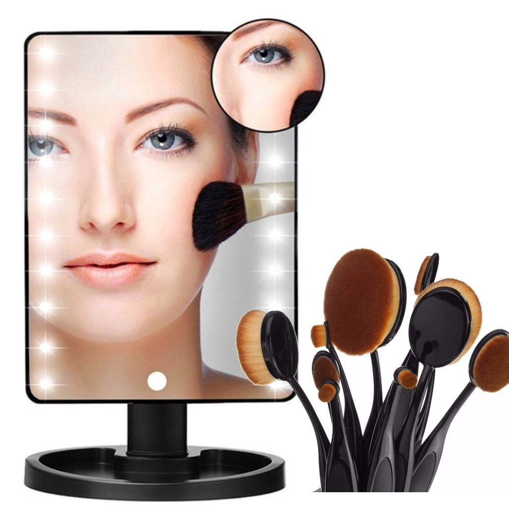 YBeauty Queen 180° Touch Screen 16 LED Light Make Up Cosmetic Vanity Mirror w/ removable 5X Magnifying Mirror and 10 Piece Professional Makeup Brush Set