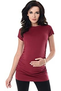 a1bc17ab9d3ac Purpless Maternity Plain Cotton Top Pregnancy T-Shirt Tee for Pregnant  Women 5025