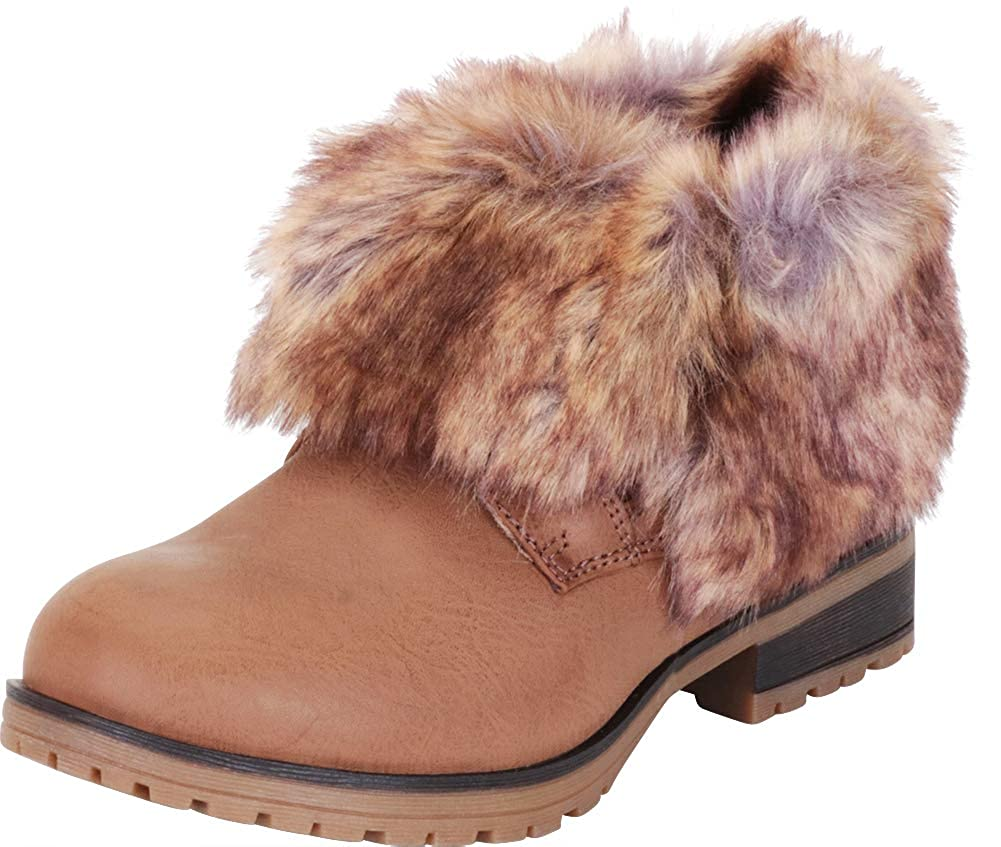 Taupe Pu Cambridge Select Women's Faux Fur Fold Over Cuff Chunky Lug Sole Ankle Bootie