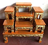 Large Size 23'' (L) x 19'' (W) x 26'' (H) inches, Thai Buddha Show Table Set Made from Teak Wood. Thai Wood Carving Buddha Table Set Shelf Statue Figurine Stand. Set Of Altar Table Best For Home Decor.