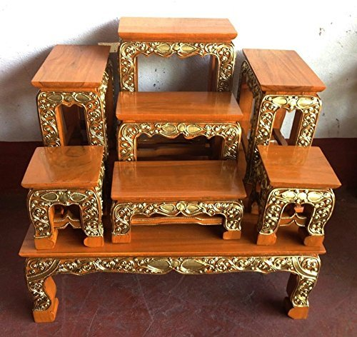 Large Size 23'' (L) x 19'' (W) x 26'' (H) inches, Thai Buddha Show Table Set Made from Teak Wood. Thai Wood Carving Buddha Table Set Shelf Statue Figurine Stand. Set Of Altar Table Best For Home Decor. by Unknown