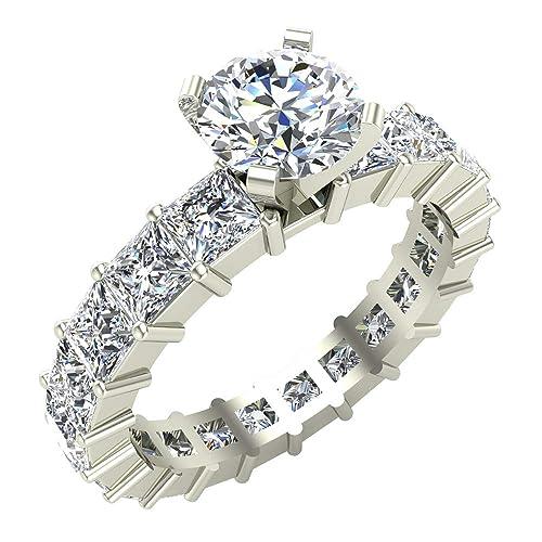 Redondo centro princesa Eternity Diamond anillos de boda oro blanco ...