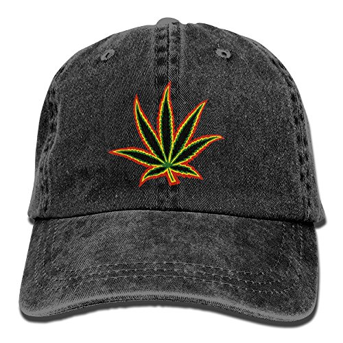 BEMYSELF-Unisex-Adult-Marijuana-Weeds-Leaves-Washed-Denim-Cotton-Sport-Outdoor-Baseball-Hat-Trucker-Hat-Adjustable-One-Size-Black