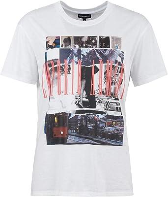Emporio Armani - Camiseta - para Mujer Blanco óptico 38: Amazon.es: Ropa y accesorios