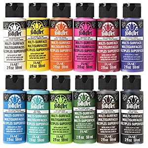 FolkArt PROMO830 Multi Satin Finish Acrylic Craft Paint Set Designed for Beginners and Artists, Non-Toxic Formula That Works on All Surfaces, 2 oz, Assorted Colors 1