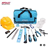 Apollo 14 Piece Children's Tool Kit with Real Hand Tools including Safety Goggles and Play-Work Hat - All in a Convenient Storage Bag