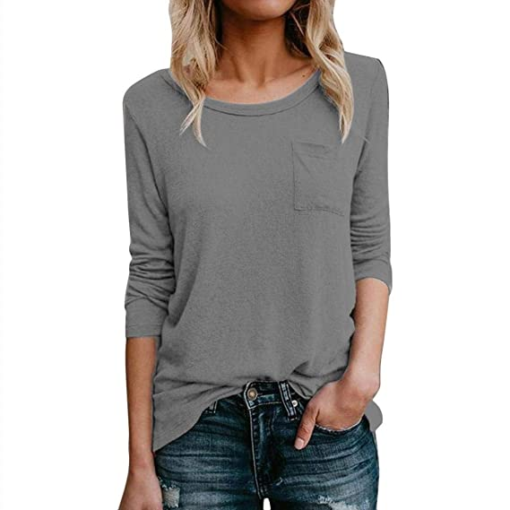 Blusas Mujer Manga Larga,Color Sólido O-Cuello Moda Diario Casuales Camiseta Top: Amazon.es: Ropa y accesorios