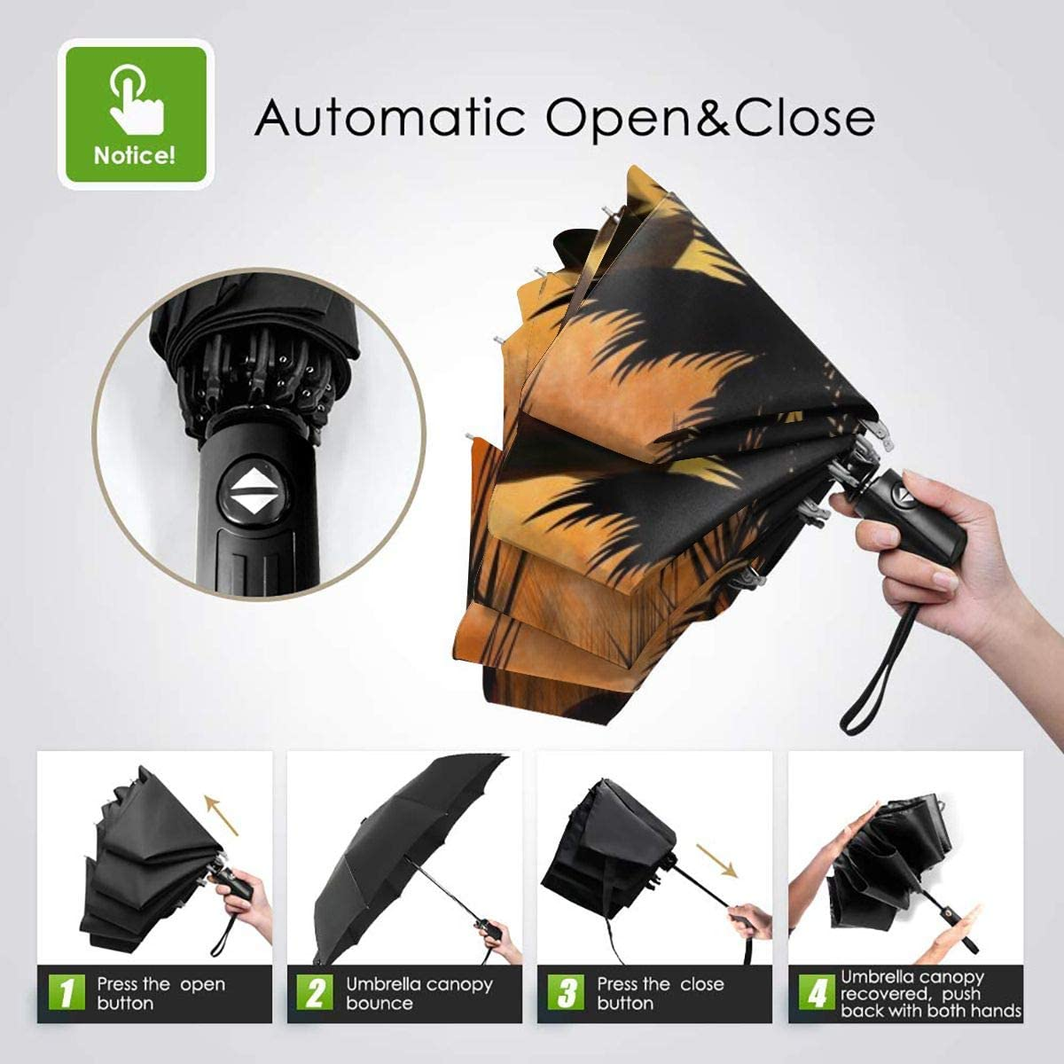 Sunset Jungle Forest Love Monkey.jpeg Umbrella Compact Rain/&Wind Repellent Umbrellas Sun Protection With Anti UV Coating Travel Auto Folding Umbrella