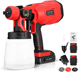 InLoveArts Paint Sprayer, Upgraded 800ML Cordless Electric Spray Gun, Adjustable, Easy to Spray, Suitable for Furniture, Ceilings, Fences, Walls, Crafts (with 3 Spraying Modes, 2 Batteries)