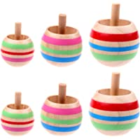 Coxeer 6PCS Wood Spinning Top Spinning Toy Educational Toy Party Favor for Kids
