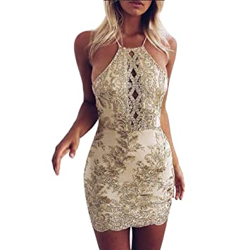 3dda302ae SMILEQ Dress Women Sequin Embroidery Ball Gown Bodycon Skirt Camisole  Backless Buttock Mini Dress (Beige