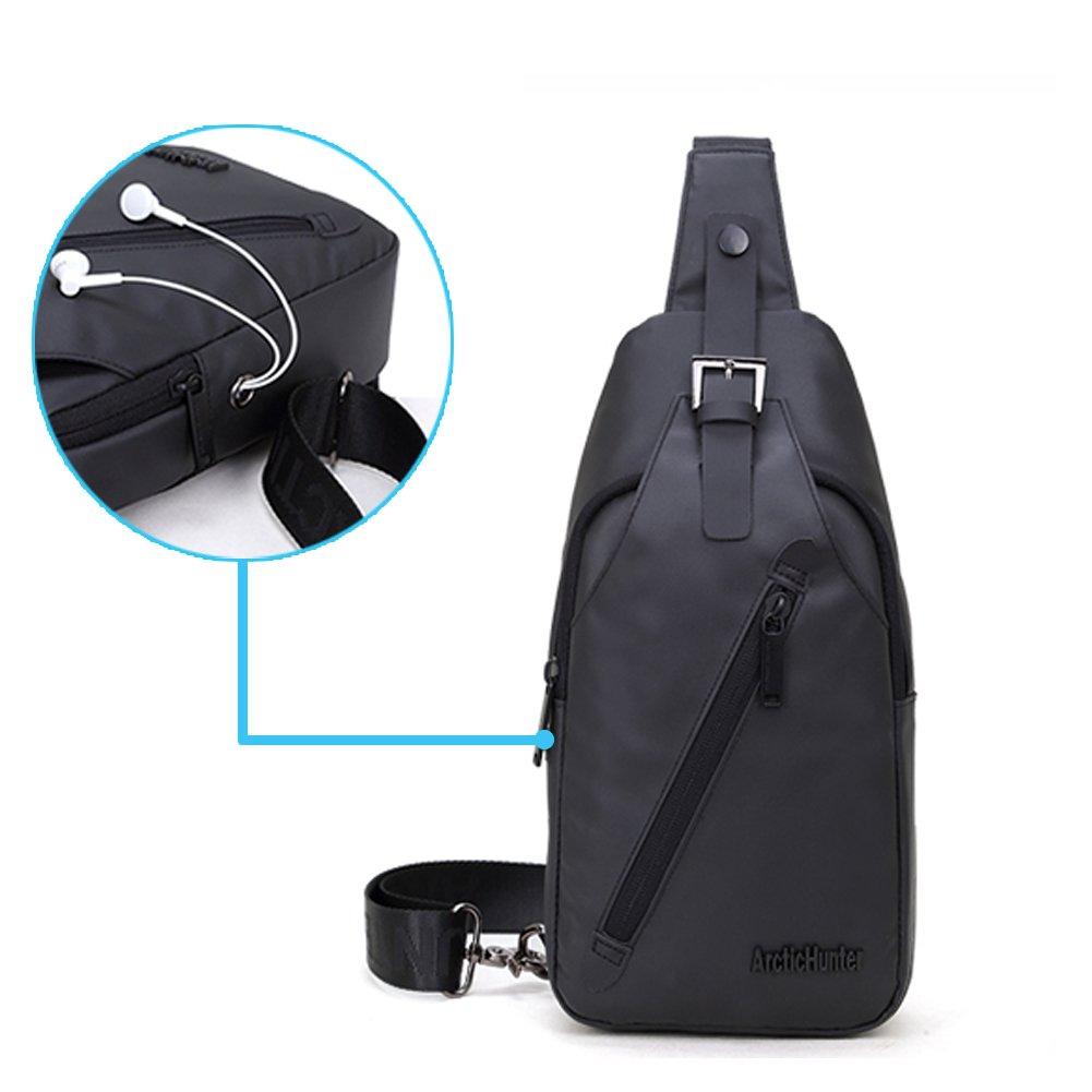 Stuo Men's Sling Bag Headphone Port Waterproof Crossbody Shoulder Bag Outdoor Cycling Messenger Chest Bag Black