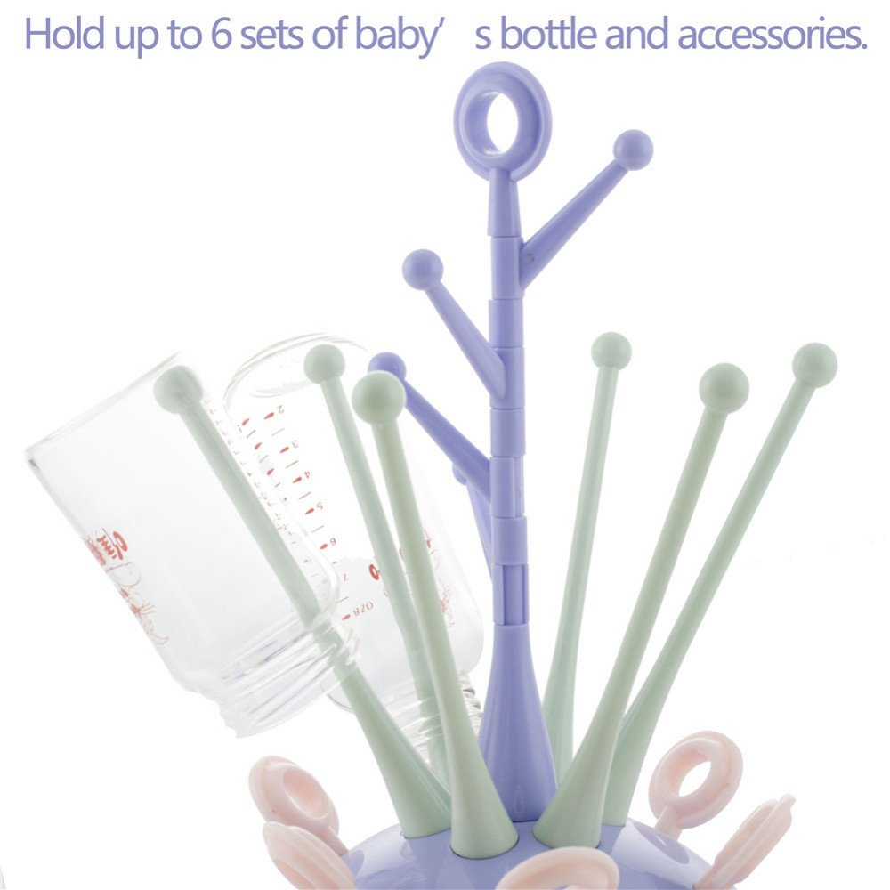 TOOGOO Baby Bottle Drying Rack Pacifier Nipple Drier Cute Tree Shape Cups Holders Infant Feeding Shelf Detachable Easy Cleanhen Cafe Supplies Blue