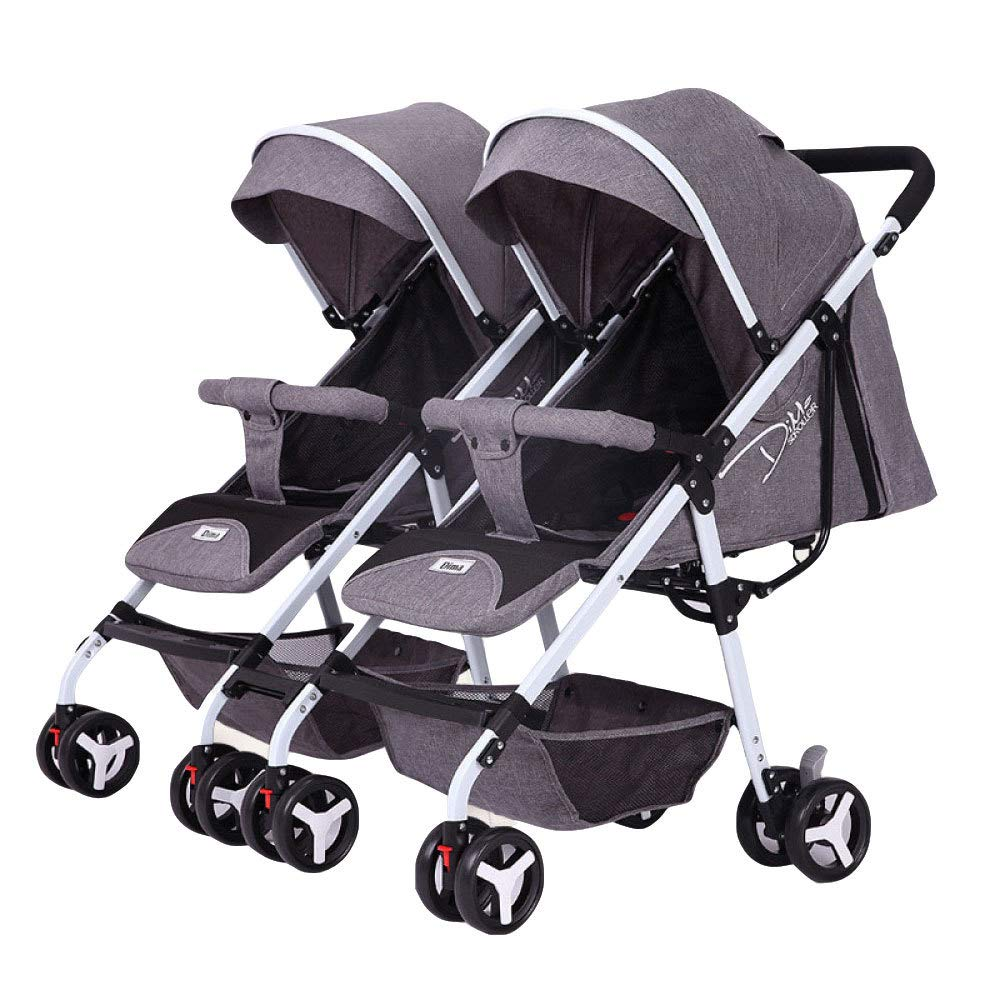 BO LU Double Strollers Double Seats for Twins Foldable Can Sit and Lie with Awning Adjustable Backrest by BO LU (Image #4)