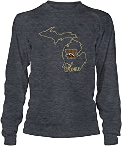FanPrint Western Michigan Broncos T-Shirt - Home in State Outline