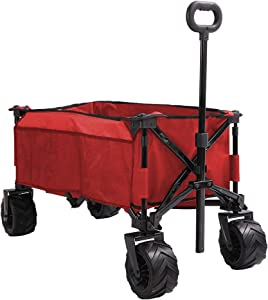LogKnot Folding Collapsible Wagon Cart, All Terrain Utility Wagon, Heavy Duty Outdoor Garden Beach Wagon with Wheels - Perfect Use for Camping, Shopping, Picnic, Sports, Red