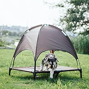 SUPERJARE Large Dog Cot with Canopy Elevated Pet Bed|Indoor or Outdoor |Sturdy 1680D Oxford Fabric|Lightweight & Portable|Extra Carrying Bag|Brown