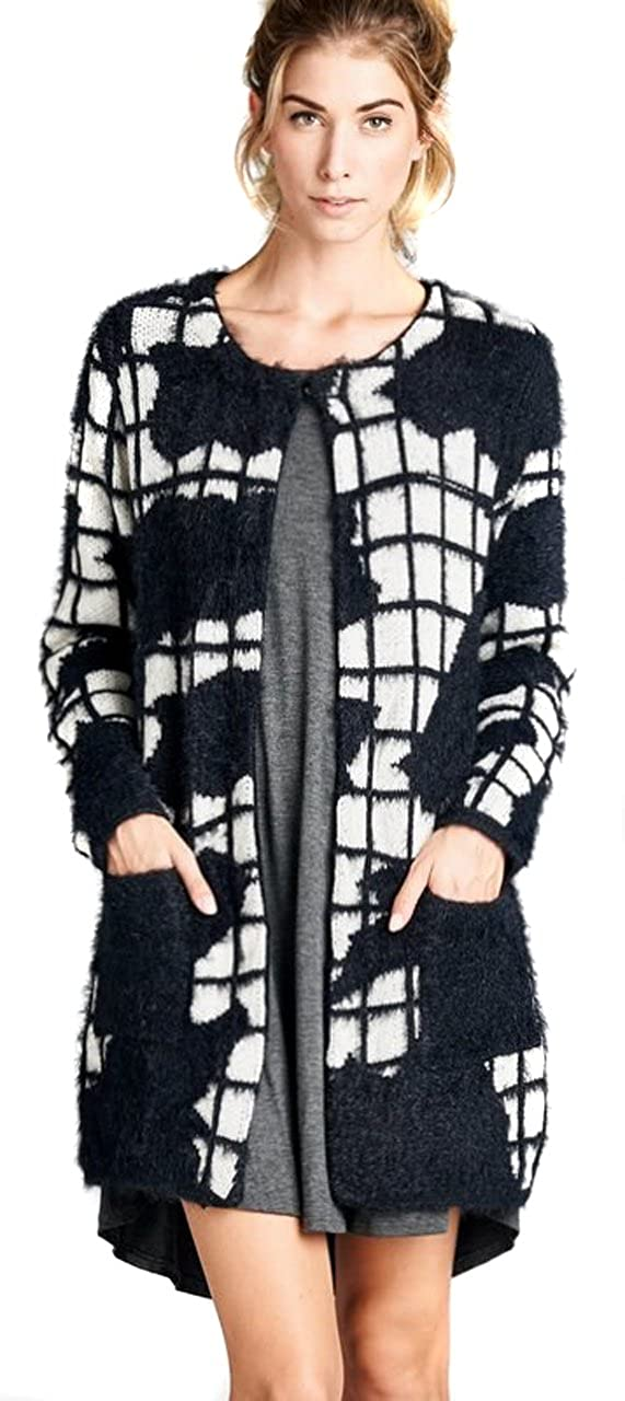JODIFL Womens Black Chic Stretch Knit Open Front Cardigan Sweater Jacket S M L