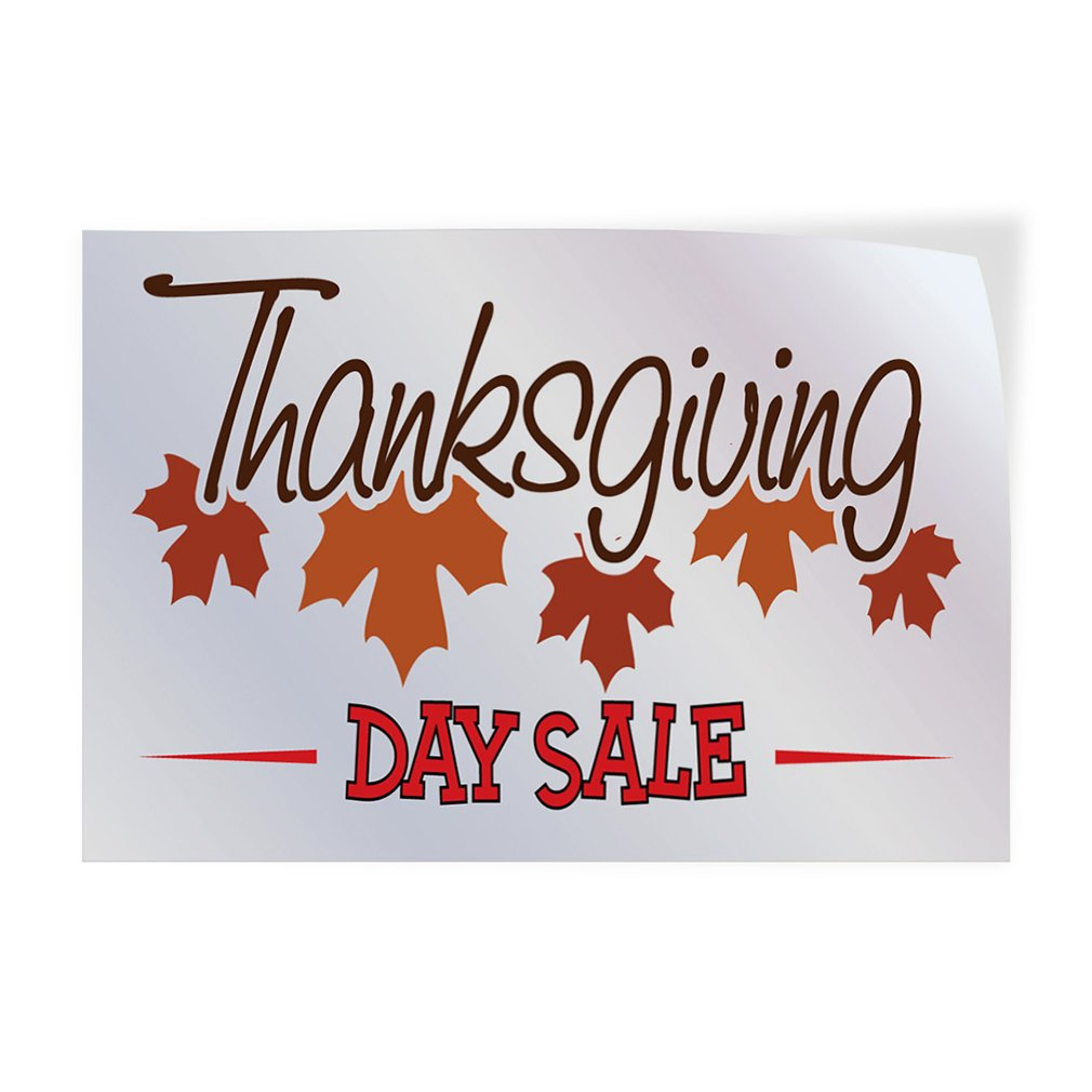 42inx28in Set of 5 Decal Sticker Multiple Sizes Thanksgiving Day Sale Business Leaves Outdoor Store Sign White