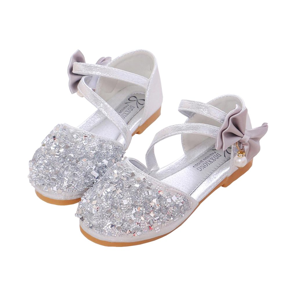 lakiolins Toddler Girls Summer Closed Toe Bling Sandals Princess Flat Shoes with Bowknot Pearls Ankle Straps Silver Size 9.5M