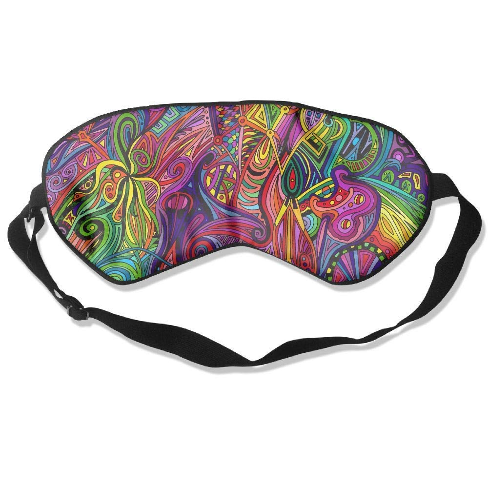 1960s Psychedelic Artwork Silk Sleeping Eye Mask Lightweight And Comfortable Eyeshade With Adjustable Strap