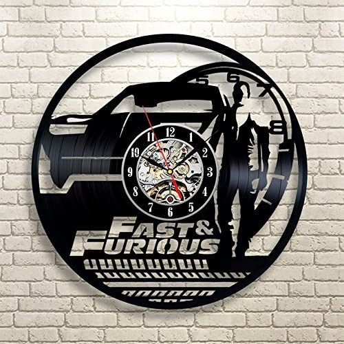 La Bella Casa The Fast and The Furious Art Vinyl Record Wall Clock