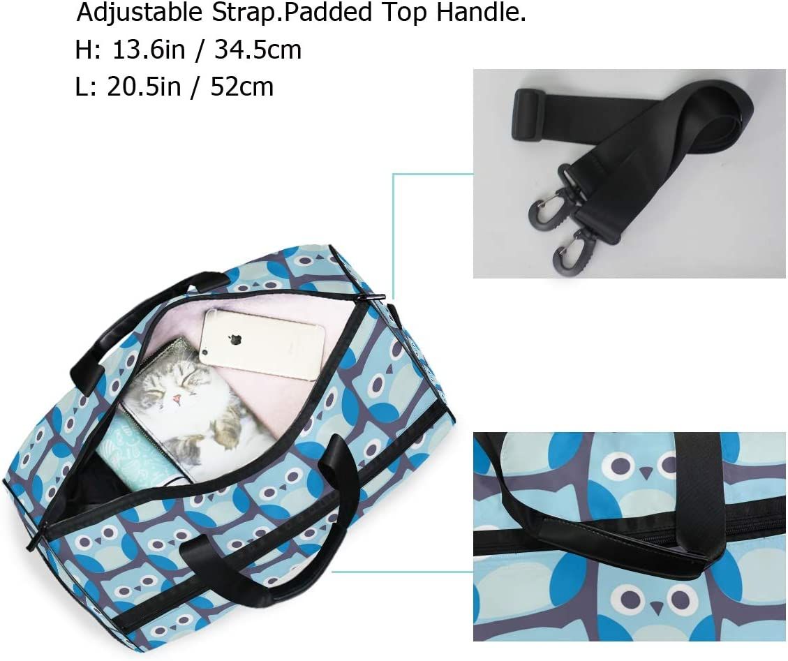 FAJRO Gym Bag Travel Duffel Express Weekender Bag Cute Owl Staring Carry On Luggage with Shoe Pouch